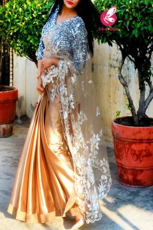 Golden Embroidered Net Satin Half & Half Saree