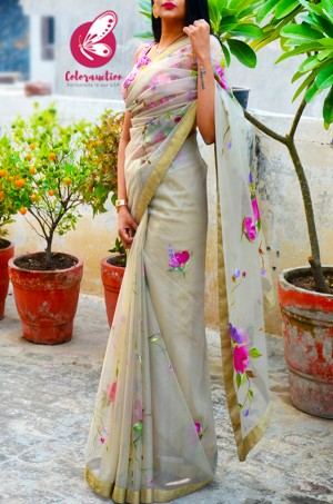 Light Sage Green Hand-painted Pure Organza Saree