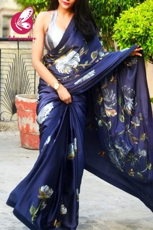 Blue Hand-painted Satin Floral Dupion Taping Saree