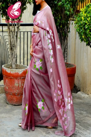 Mauve Hand-painted Pure Organza Saree