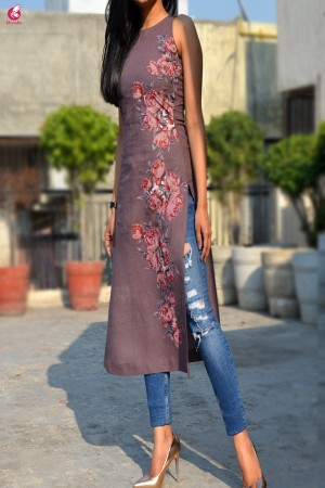 Mauve Pure Linen Patch Work Kurti