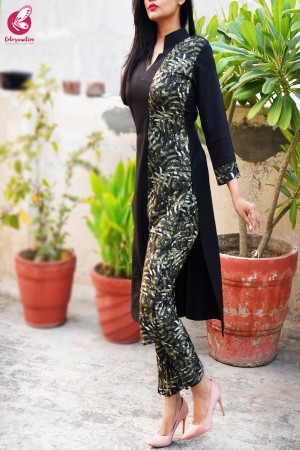 Black & Green Printed Crepe Kurti with Printed Crepe Pants