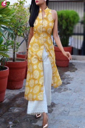 Mustard Printed Rayon Kurti with Cream Lakhnawi Cotton Full Lining Palazzo