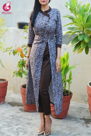 Grey & Dark Brown Printed Cotton Silk Kurti with Dark Brown Cotton Silk Pants