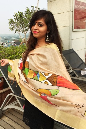 Cream Chanderi Modern Art Hand-painted Stole