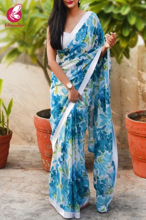 Blue & White Printed Georgette White Satin Taping Saree