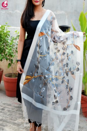 White Organza Handpainted Grey Floral Stole