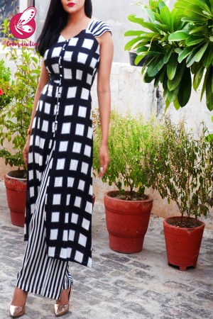 Black & White Printed Rayon Kurti Set