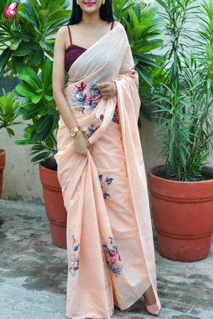 Peach Organdy Applique Floral Saree
