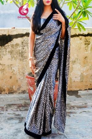Silver Leopard Print Satin Black Velvet Taping Saree