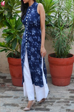 Blue Tropical Print Modal Rayon Kurti with White Chikankari Full Lining Cotton Palazzo