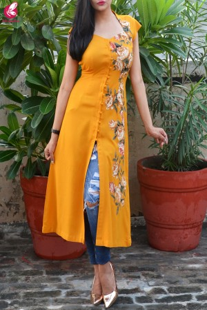 Mustard Modal Rayon Cap Sleeves Patch Work Kurti