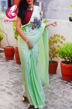 Light Pista Green Hand-painted Satin Floral Dupion Taping Saree