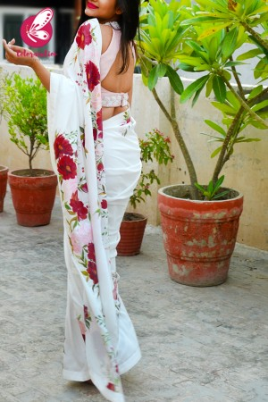 White Hand-painted Viscose Crepe Saree