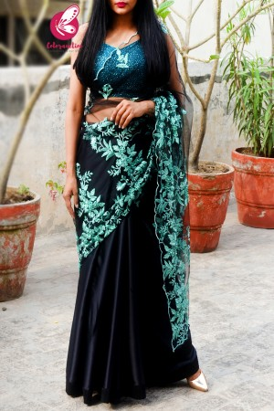 Black Embroidered Net Satin Half & Half Saree