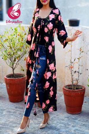 Black Printed Crepe Neon Pink Floral Long Shrug