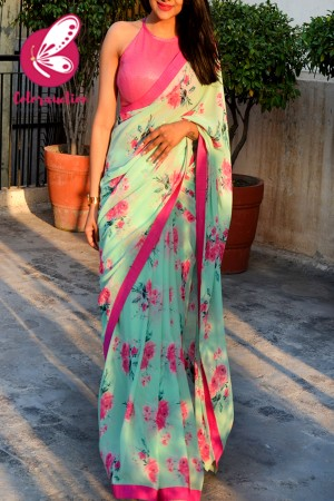 Multicolored Printed Chiffon Georgette Pink Dupion Taping Saree