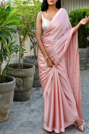 Peach Satin Dupion Silk Taping Saree