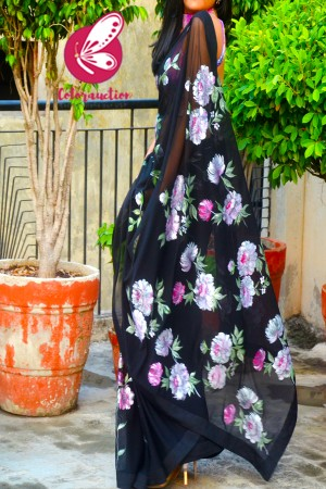 Black Net Floral Handpainted Multicoloured Dupion Silk Taping Saree