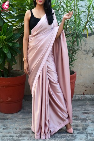 Pinkish Mauve Satin Dupion Silk Taping saree