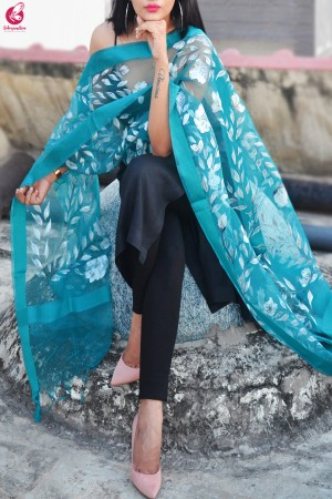 Teal Green Organza Handpainted Floral Stole