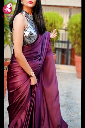 Wine Satin Dupion Silk Taping Saree