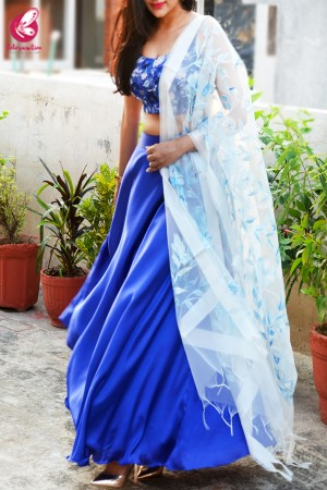 Blue & White Satin Lehenga With White Hand Painted Organza Stole