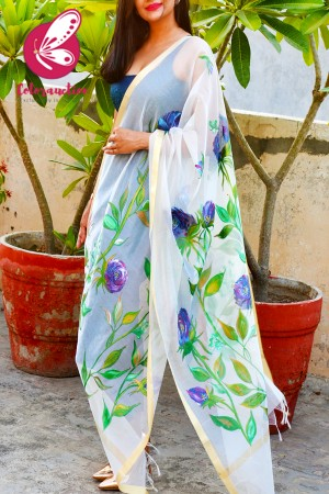 Off White Pure Chanderi Handpainted Vibrant Floral Stole