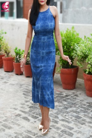 Blue Printed Crepe Dress