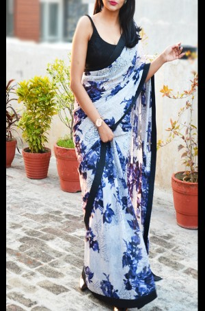 Multicolored Printed Floral Georgette Black Dupion Taping Saree