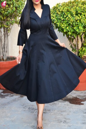 Black Formal Padded Bell Sleeves Dress