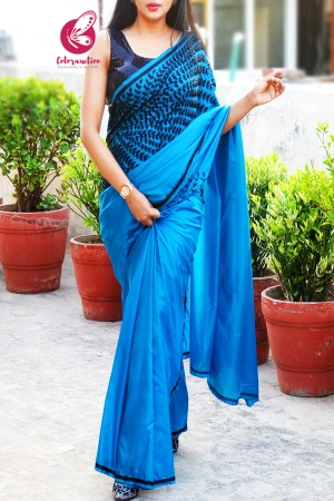 Blue Pure Silk Beads Katdana Handwork saree