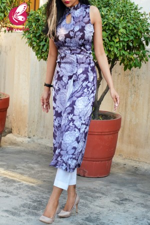 Mauve Printed Satin Georgette Kurti With White Cotton Silk Pants