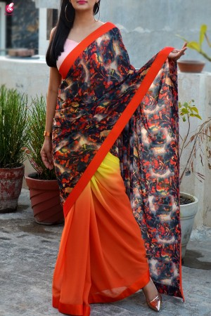 Orange & Yellow Double Shaded Georgette Saree