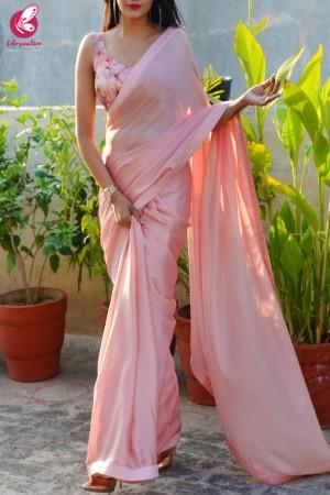 Pastel Peach Silk Georgette Dupion Silk Taping Saree