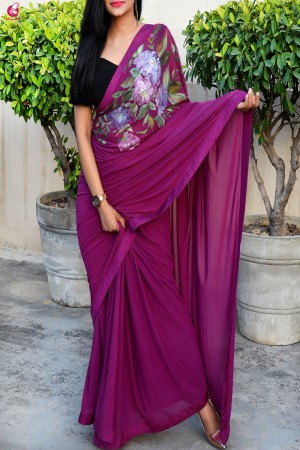 Grape Purple Hand painted Lycra Net Saree