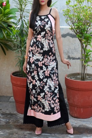 Black Printed Strappy Crepe Straight Kurti with Black Lakhnawi Palazzo Kurti Set