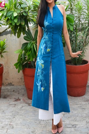 Sky Blue Pure Linen Patch Work Kurti