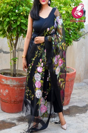 Black Organza Handpainted Colourful Floral Stole