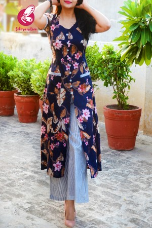 Navy Blue & White Printed Floral Cotton Kurti Set