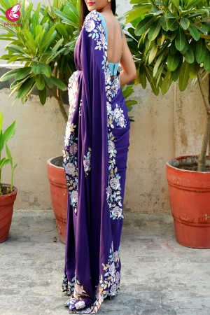 Purple Crepe Sequins Pearl Handwork Saree