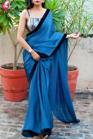 Teal Blue Silk Georgette Black Velvet Taping Saree