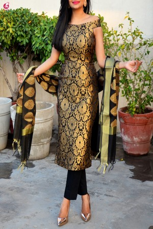 Black Brocade Padded Kurti with Cotton Silk Pants and Chanderi Stole