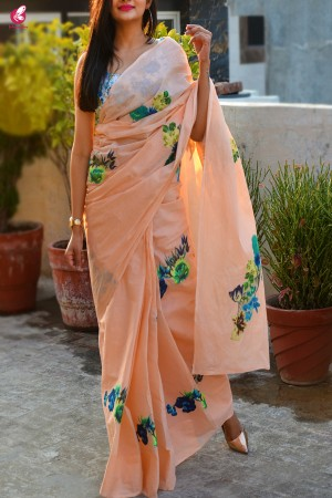 Peach & Blue Organdy Applique Floral Saree
