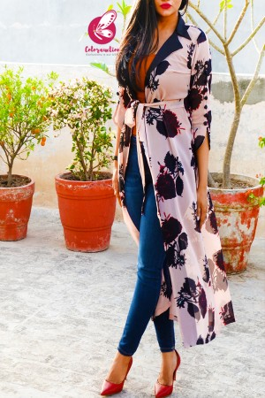 Peach Printed Georgette Open Front Long Shrug