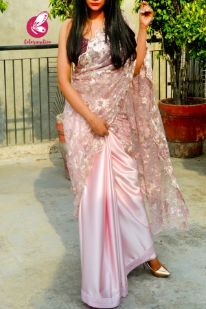 Pastel Pink Embroidered Pure Satin Net Half and Half Saree