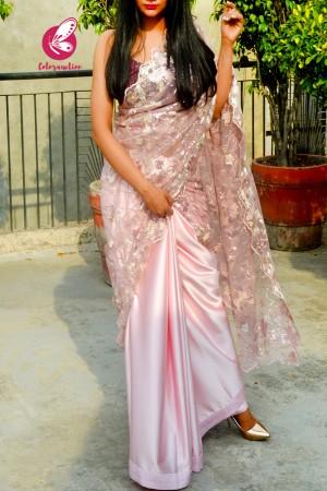 Pastel Pink Embroidered Pure Satin Net Half and Half Saree