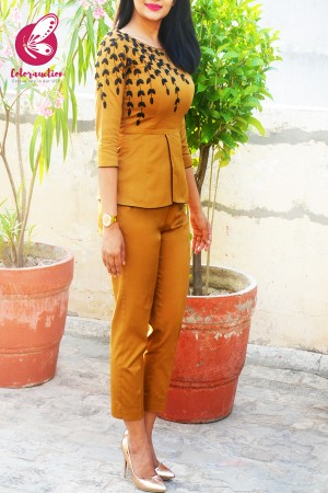 Mustard Golden Padded Cotton Silk Peplum With Pants