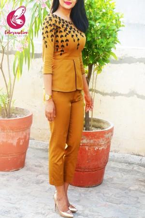 Mustard Golden Padded Cotton Silk Peplum With Pants