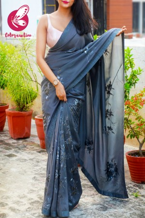 Grey Pure Silk Crepe Floral Handpainted Saree